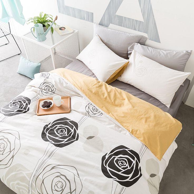 Grace Rose Orange  Duvet Cover Set Twin Queen King Size Bedding Sets 100% Cotton Duvet Cover Bed Sheets Pillow Case 3/4pcs