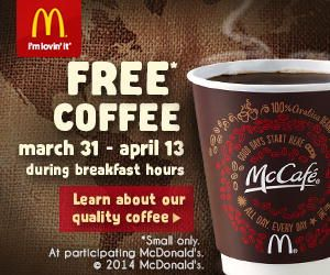 FREE McDonald's McCafe Coffee for breakfast through April 13th