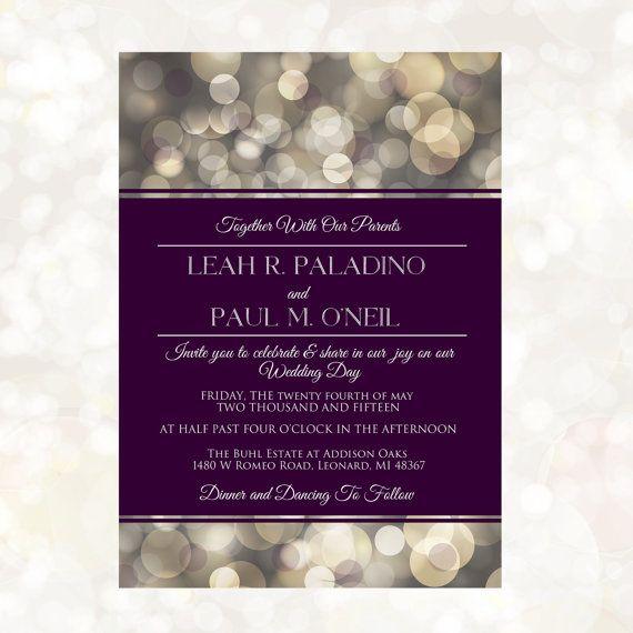 Plum Wedding Invitation Purple Wedding Suite By MemoryLanePaperie