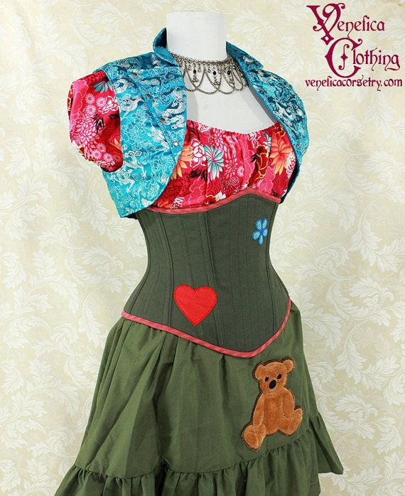 Firefly Kaylee Inspired Olive Green Waspie Corset w/Heart & Flower Patches…