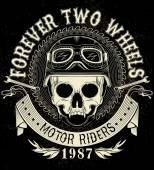 Emblema de caveira motociclista vintage — Vetor de Stock