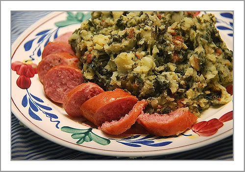 Boerenkool met Worst (Netherlands) - Kale Mash with Smoked Sausage and bacon