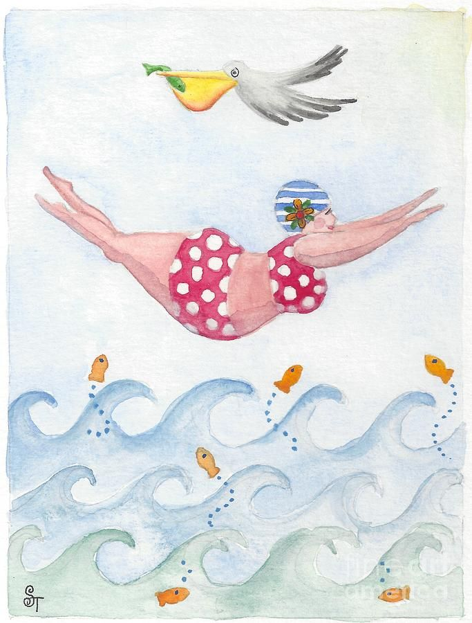 Sylvia Diving Painting by Stephanie Troxell
