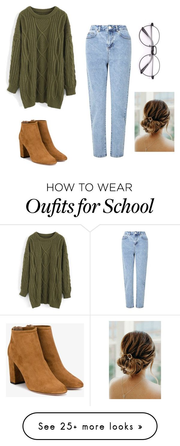 """school is soon"" by gali2005m on Polyvore featuring Chicwish, Miss Selfridge and Aquazzura"