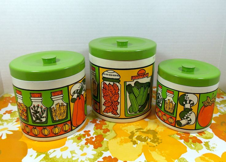 Vintage Kitchen Canisters, Set Of Three, In Groovy Bright Colors By  RetroLiciousVintage On Etsy