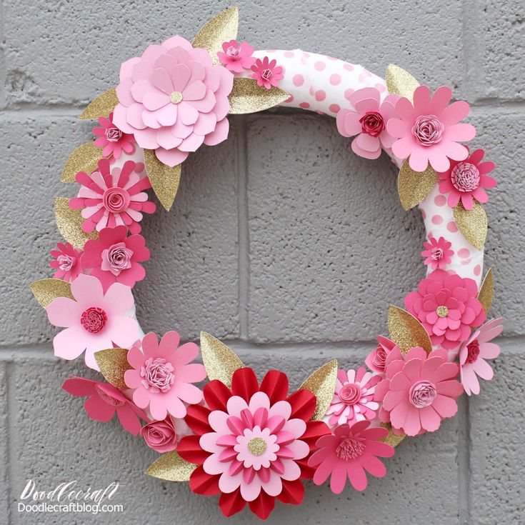 Diy Valentine S Decor Paper Flower Wreath With Cricut Maker
