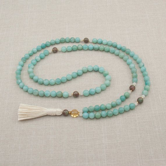 Amazonite 108 Mala Necklace - Creativity & Patience - Meditation Beads - Yoga Mala Beads
