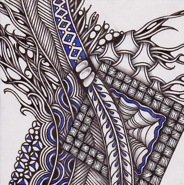 Zentangle. Размер: 9х9 см. Гелевые ручки, карандаш.