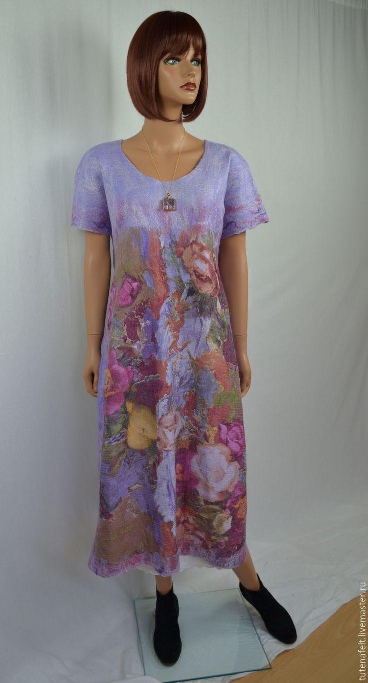 """Купить Платье  авторское  валяное  весенний стиль """"Вишневый сад"""" - валяное платье, платье на заказ"""