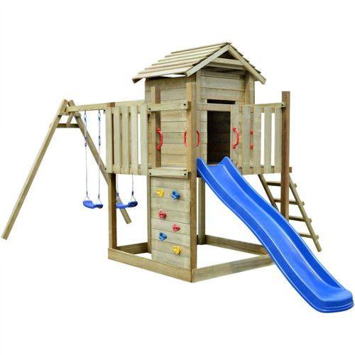 Wooden Kids Playhouse Outdoor Kids Climbing Frame Yard Play Center Ladder Swings #SakuramartDealsMarket #KidsPlayCenterClimbingframe
