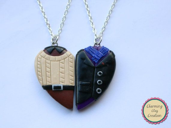 Sherlock and John Inspired Friendship Necklaces or Keyrings