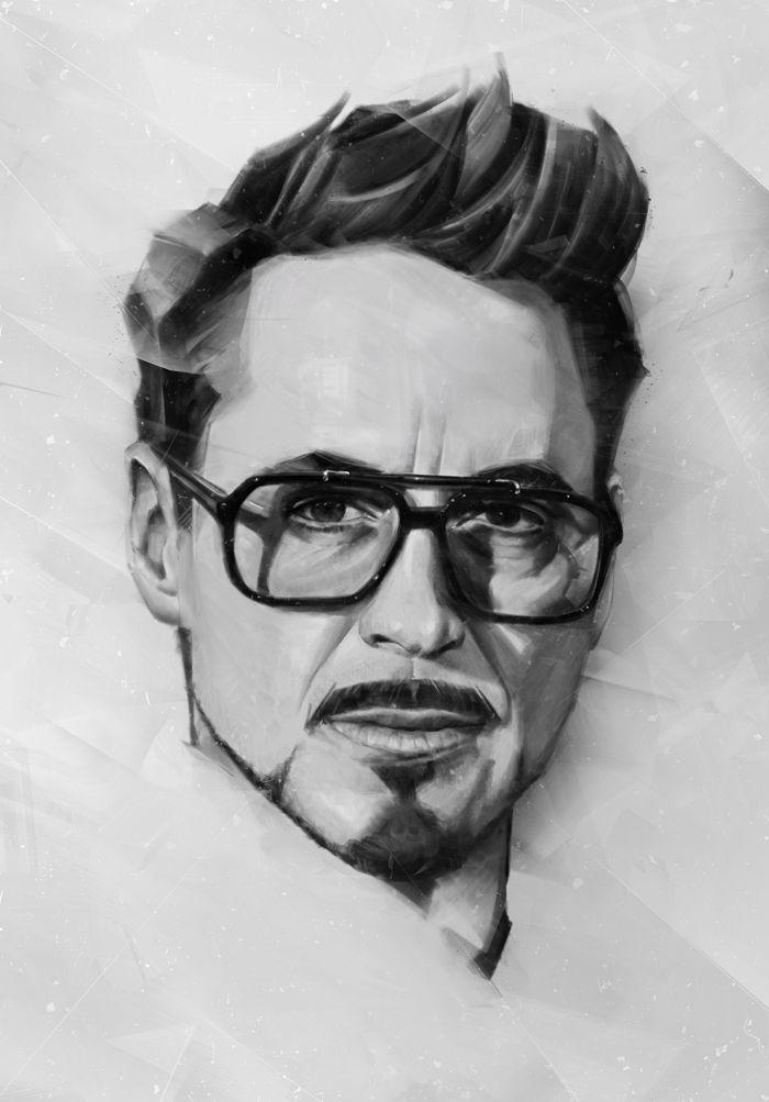 Portraits Of Actors Iron Man Art Marvel Art Drawings Avengers Drawings