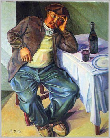 Mario Tozzi: 1920 Le Pére Lenoir (Contadino di Borgogna) Olio su Tela cm.(112x90) - Collezione Vicenza - Arch.332 - Cat.20/9.