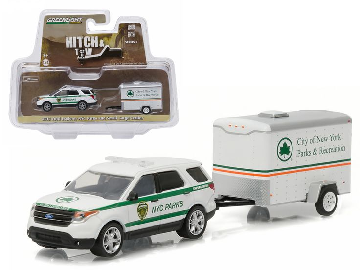 2015 Ford Explorer New York City Department of Parks and Recreation & Small Cargo Trailer Hitch & Tow Series 7 1/64 Diecast Car Model by Greenlight - Brand new 1:64 scale car model of 2015 Ford Explorer New York City Department of Parks and Recreation & Small Cargo Trailer Hitch & Tow Series 7 die cast car model by Greenlight. Has opening trailer door. Limited Edition. Detailed Interior, Exterior. Metal Body. Comes in a blister pack. Officially Licensed Product. Dimensions Approximately L-7…