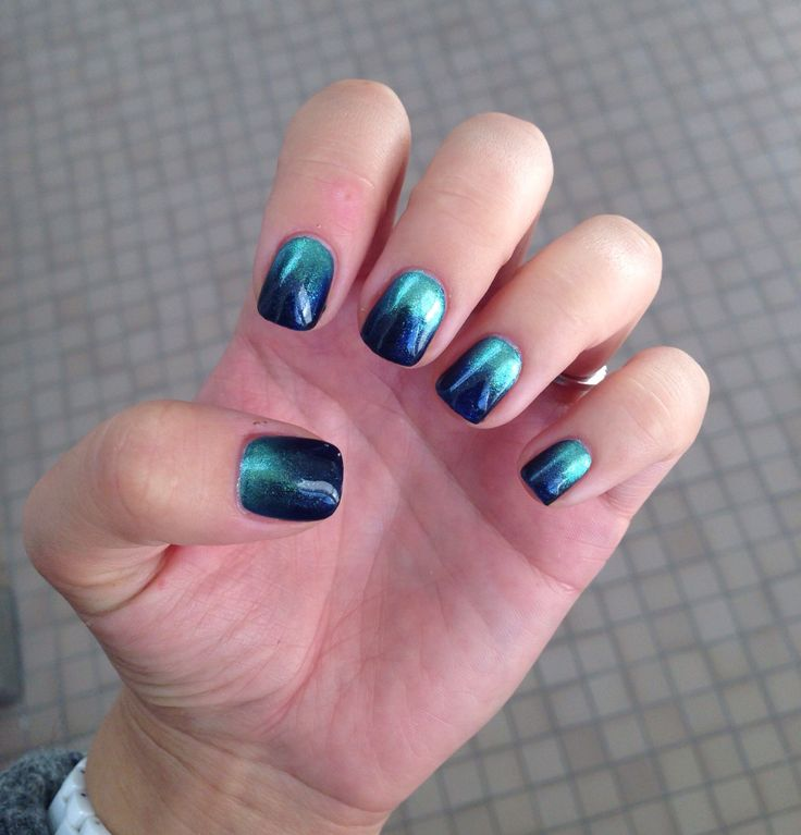 CND Shellac Midnight Swim with Green Gold Sparkle Additive