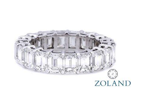 Emerald Cut Diamond Eternity Band set in a shared prong setting #diamond #ring