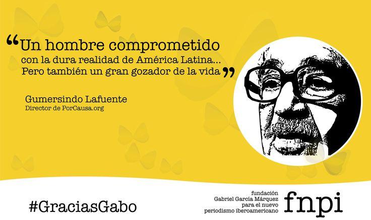 """""""Era un gigante del periodismo, un contador de historias reales que siempre desbordaban lo que pudiera fabricar la imaginación"""", Gumersindo Lafuente --> http://especialgabo.fnpi.org/maestros/gabo-y-la-alegria-de-vivir/ #GraciasGabo"""