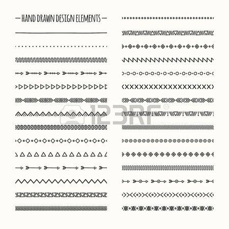 民族手描画ベクトル ライン ボーダー セットと流行に敏感な落書きデザイン要素。ネイティブのブラシ。アステカの幾何学的な白黒ヴィンテージ ファッション デザインのパターン。イラスト。落書きスタイル。. 写真素材 - 43203103