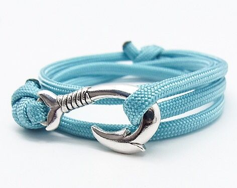 Dolphin Tail Fish Hook - Turquoise Blue Bracelet!!Hook your fortune(^ν^)http://shopjay.com/products/detail.php?product_i