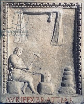 Goldsmith in his shop, relief, Roman, 1st century (stone)