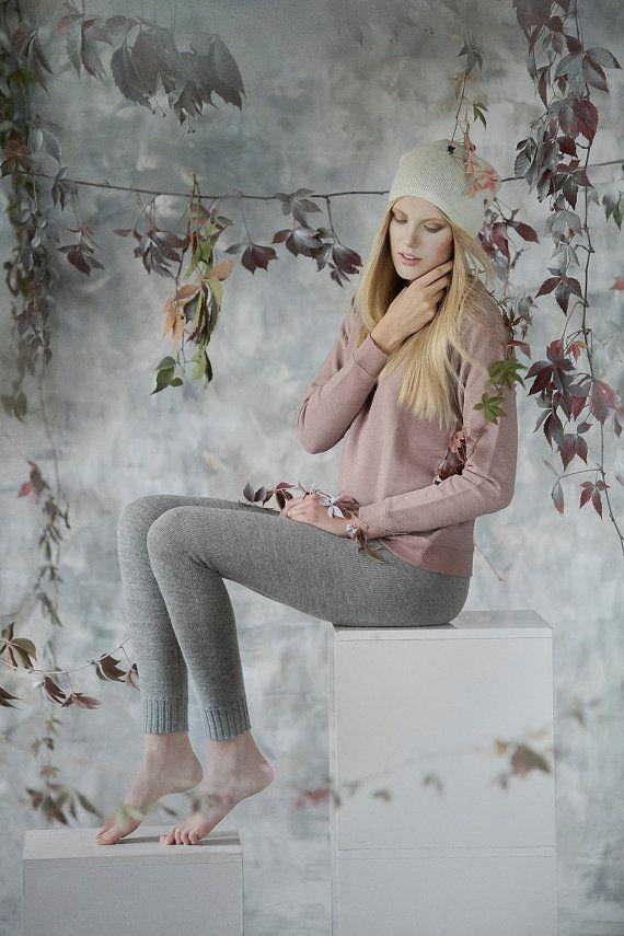 Alpaca leggings for woman / adult knit pants / baby alpaca wool leggings / slim fit knitted pants / gray / brown