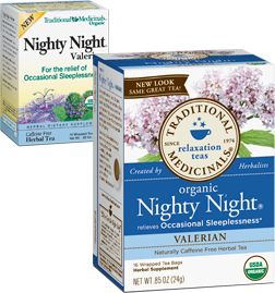 Amazing tea for sleep!!! I have tried everything from medication to meditation and this tea is tops. Just steep 1 or 2 bags for 15 minutes, drink an hour before you want to go to bed...and BAM out for the night. Helps you stay asleep all nigh and feel rested (unlike meds)! This tea even won over my skeptical fiance. Nighty Night® Valerian tea.