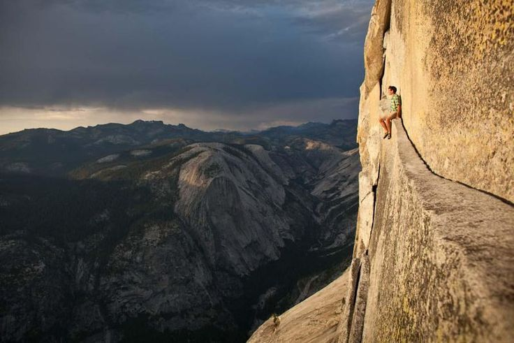 Alex Honnold soloing on the Regular Route on Half Dome. What a place to contemplate life, death, the universe and everything.