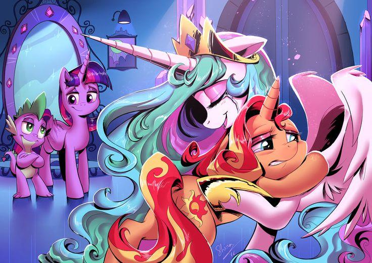 my little pony,Мой маленький пони,фэндомы,Twilight Sparkle,Твайлайт Спаркл,mane 6,Spike,Спайк,minor,Sunset Shimmer,Сансет Шиммер,Princess Celestia,Принцесса Селестия,royal,mlp art