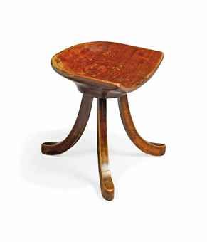 AN OAK AND BEECH TRIPOD STOOL BY ADOLF LOOS