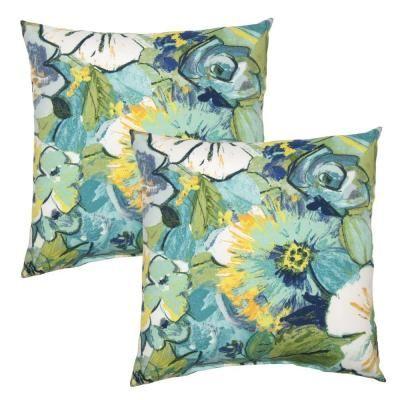 Hampton Bay 16 in. Rainforest Floral Outdoor Toss Pillow (2-Pack)-7050-02226200 - The Home Depot