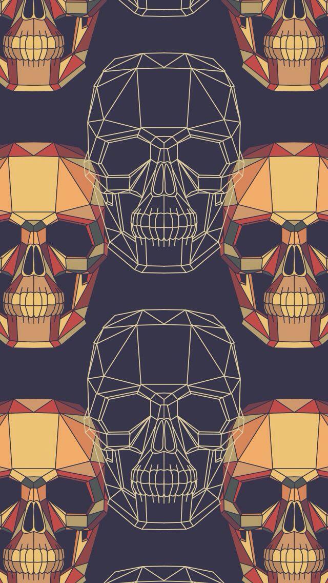 Digital Skulls Wallpaper, pop art, graphic design, illustration.