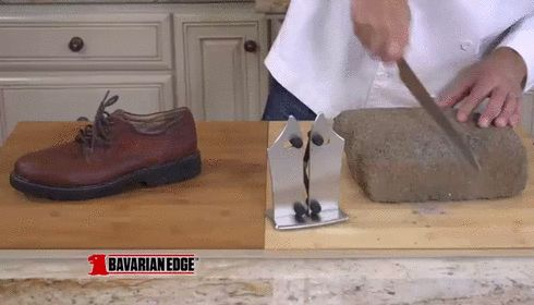 See how it easily cuts through a shoe