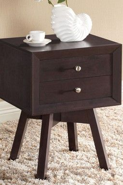 Warwick Modern Accent Table and Nightstand - Dark Brown