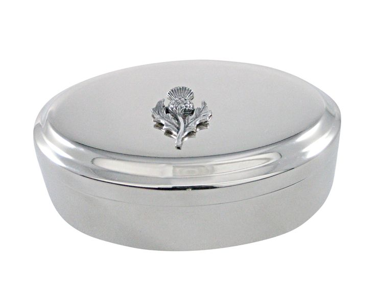 Silver Toned Thistle Plant Pendant Oval Trinket Jewelry Box