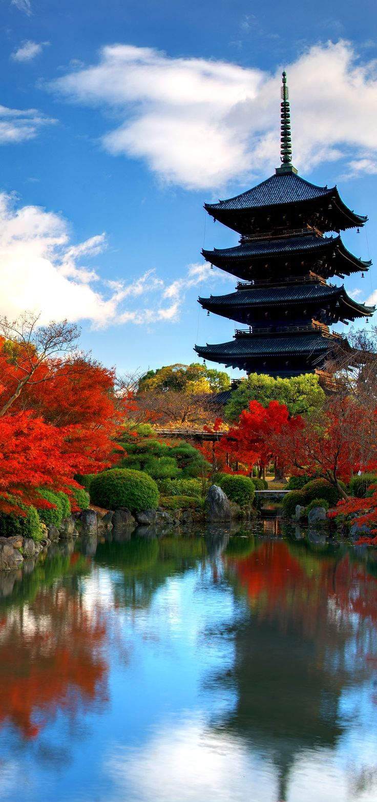 Travel Inspiration for Japan - Famous wooden tower of To-ji Temple in Nara is the largest temple pagoda in the country at a height of 54.8 meters, Japan