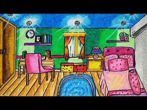 Cara Menggambar Dan Mewarnai Interior Rumah Kamar Tidur Dengan Gradasi Warna Crayon Oil Pastel Youtube Cara Menggambar Gambar Lanskap Gambar Pastel