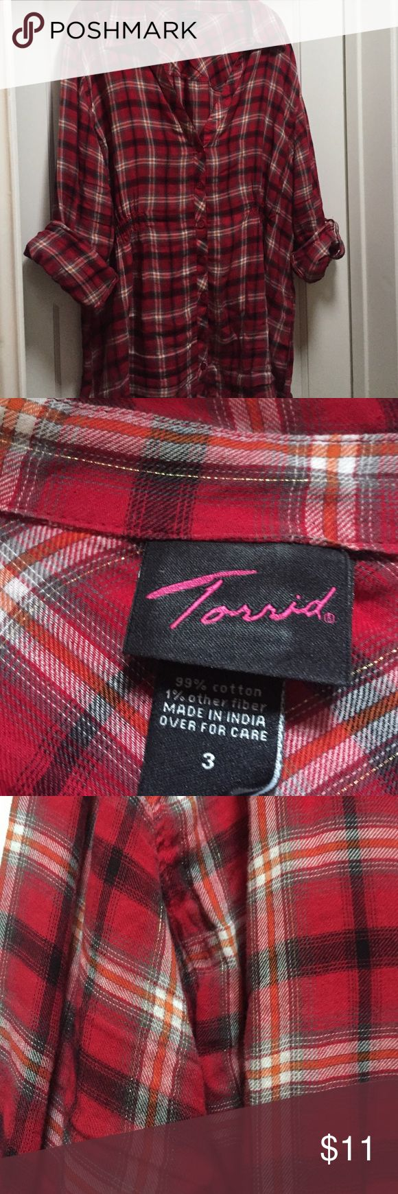 Torrid red plaid shirt, 3 Super cute plaid shirt with ruching at back. Red plaid with gold woven throughout. torrid Tops Button Down Shirts
