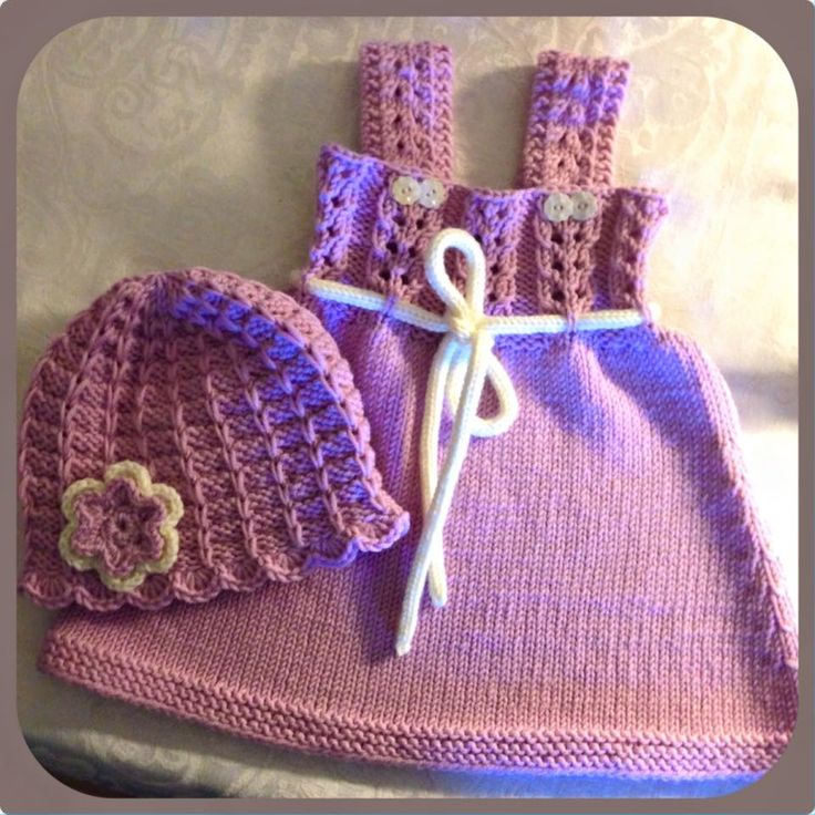 knitted babydress (Andrine summerdress) and hat, used Drops yarn, merino extra fine :-)