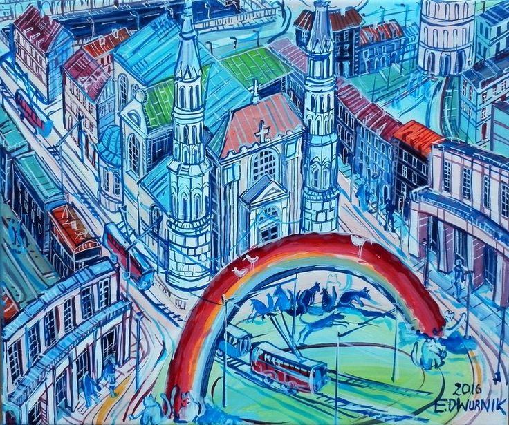 """ArtGalery ° PERSONALART.PL tytuł: """"Plac Zbawiciela"""" (Warszawa) autor: Edward Dwurnik personalart.pl/Edward-Dwurnik"""