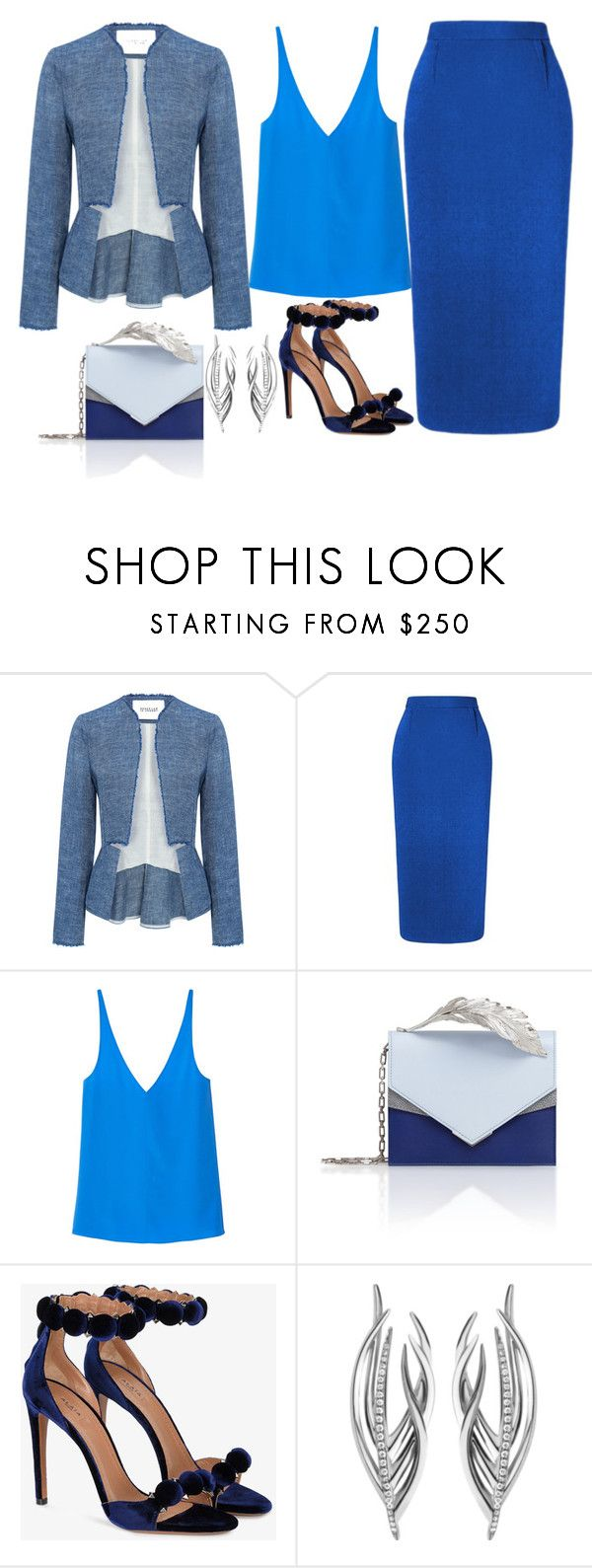 """""""cool hue blu"""" by esha2232 ❤ liked on Polyvore featuring 10 Crosby Derek Lam, Roland Mouret, TIBI, Ralph & Russo, Alaïa and Shaun Leane"""