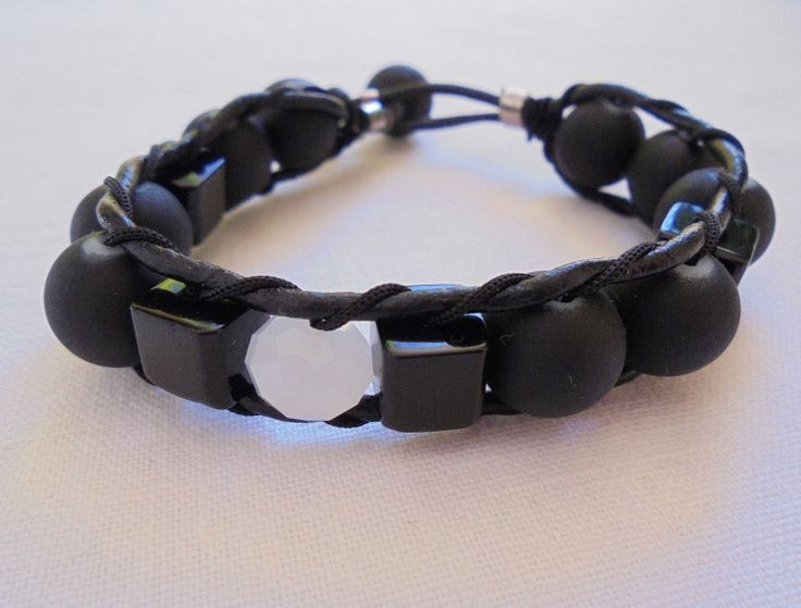"Unique Handmade Men's Wristband of thin Black Leather Cord braided with Black Silicon beads & Glass ""cube"" beads. Length: 20cm"