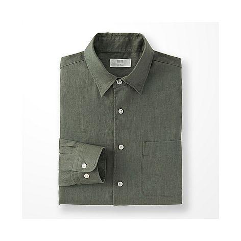 Khaki Green Premium Linen Long Sleeve Shirt-UNIQLO
