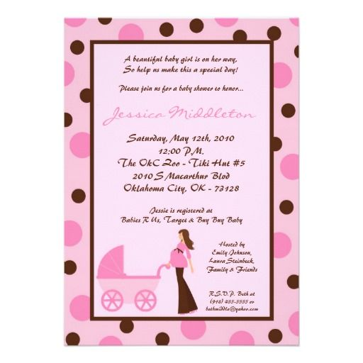 22 best pink and brown polka dot baby shower invitations images on 5x7 girl pink mom carriage baby shower invitation filmwisefo Choice Image