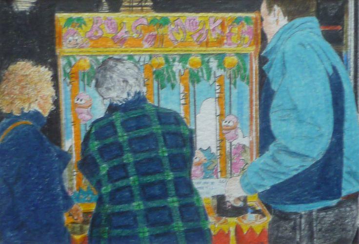 'Bongo Monkey' Crayon on paper 14 x 10 cms. Our friends enjoying the amusement arcade at Scarborough.