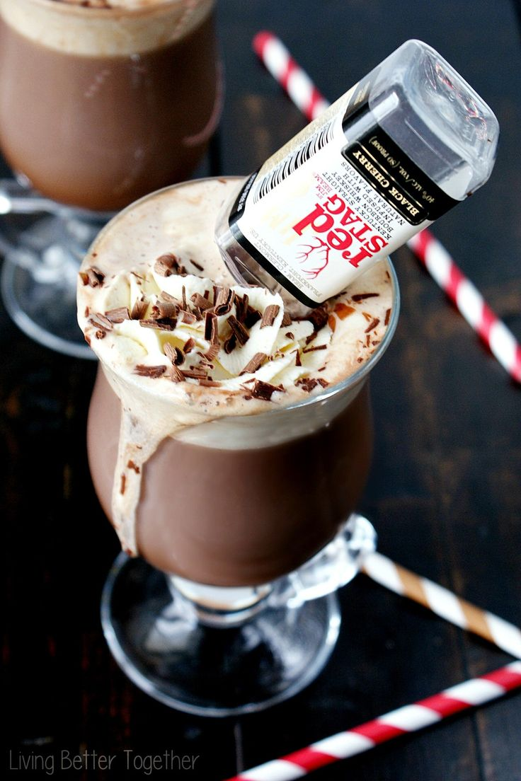 Black Cherry Bourbon Hot Chocolate - Rich hot chocolate with sweet homemade whipped cream and a kick of black cherry bourbon!