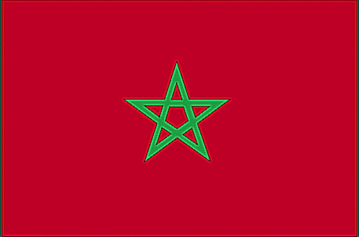 Le drapeau du Maroc est rouge avec un pentacle vert connu sous le nom de sceau de Sulayman (Salomon); Le rouge et le vert sont des couleurs traditionnelles dans les drapeaux arabes, bien que l'utilisation du rouge soit plus souvent associée aux états arabes du golfe Persique; Date de conception pour 1912.