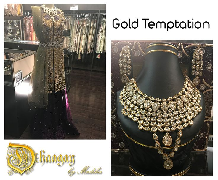Our new collection featuring unique techniques of dusty gold threads with cutwork and zardozi is now available at our studio in Mississauga. Pair your formal with our exquisite Jewlery to complete the look. #newcollection #gold #cutwork #zardozi #stunning #unique #pakistaniformalwear