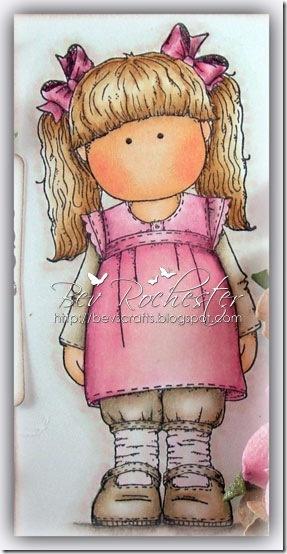 The little cutie was coloured with Copics and Prisma pencils Hair: E33, E53, E51, E50, light brown prisma pencil Skin: E21, E00, E000, R30, R20 Clothes: R83, R81, RV000, E42, E41, E40 and warm grey prisma pencil (yes even for the pink)