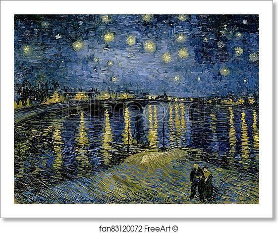 Free art print of Starry night over the Rhône by Vincent Van Gogh