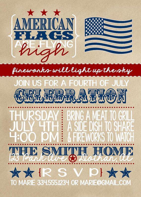vintage fourth of july invitation custom digital invitation